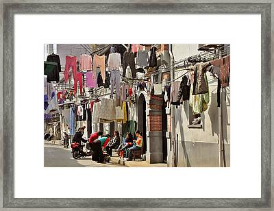 Hanging Out In The Streets Of Shanghai Framed Print