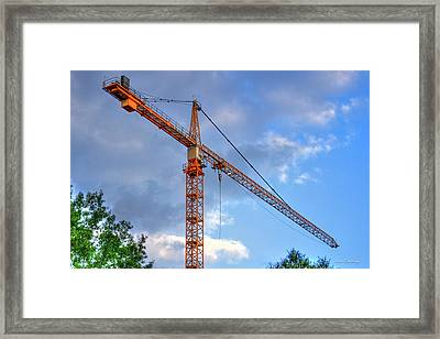 Hanging Out Tower Crane Construction Art Framed Print