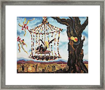 Hanging Over Vegas Framed Print by Suzanne  Marie Leclair