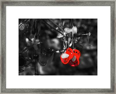 Hanging Pacifiers Framed Print by Gabriela Neumeier