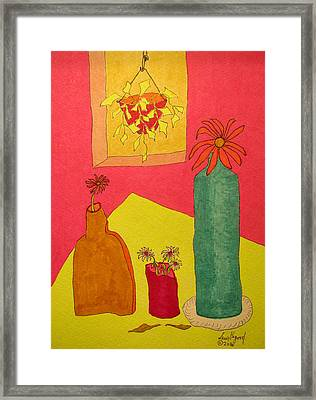 Hanging Plant And 3 On Table Framed Print