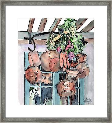 Hanging Pots And Pans Framed Print by Arline Wagner