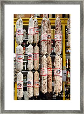 Hanging Salami Framed Print by Wingsdomain Art and Photography