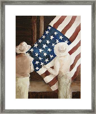 Hanging The Flag - 1 Framed Print by Frieda Bruck