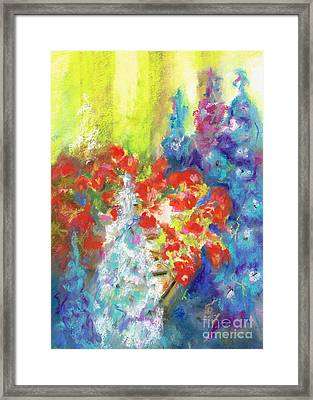 Hanging With The Delphiniums  Framed Print by Frances Marino