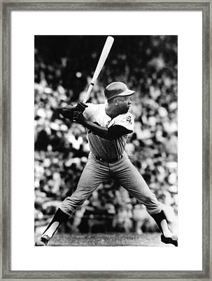 Hank Aaron About To Get His 3000th Hit Framed Print by Everett