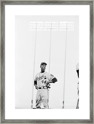 Hank Aaron On The Field, 1958 Framed Print by The Harrington Collection