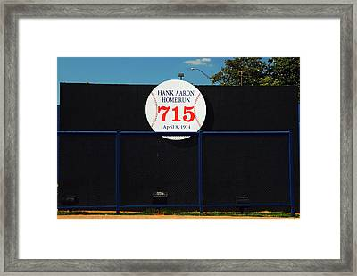 Hank Aaron Record Home Run Framed Print by James Kirkikis