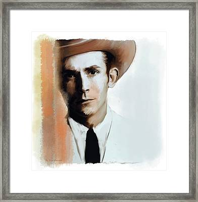Framed Print featuring the painting Hank Williams Faiths Fire by Iconic Images Art Gallery David Pucciarelli