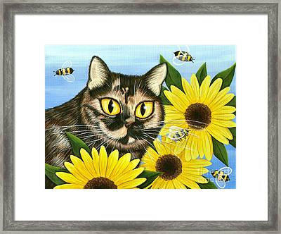 Framed Print featuring the painting Hannah Tortoiseshell Cat Sunflowers by Carrie Hawks