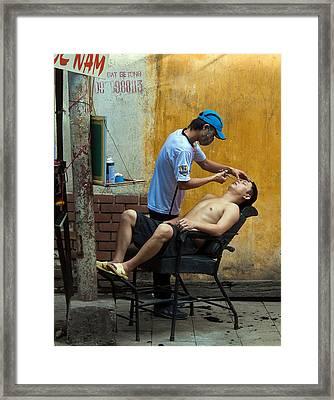 Hanoi Barber Framed Print