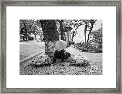Framed Print featuring the photograph Hanoi Street Vendor by Dean Harte