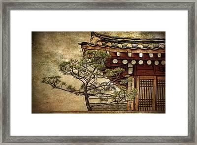 Hanok And Pine Framed Print