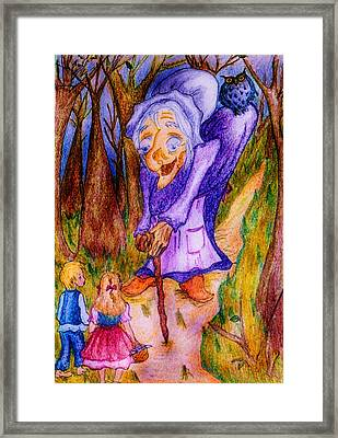 Framed Print featuring the drawing Hansel And Gretel by Rae Chichilnitsky