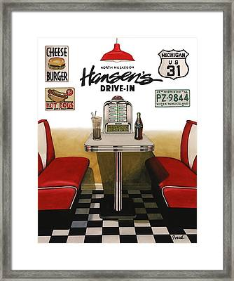 Framed Print featuring the painting Hansen's Drive-in by Ferrel Cordle