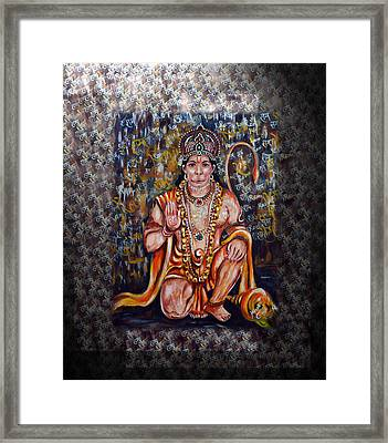 Hanuman - Super Hero - Self Less Devotion Framed Print by Harsh Malik