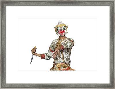 Hanuman Mask In Thai Classical Style Of Ramayana Story Framed Print