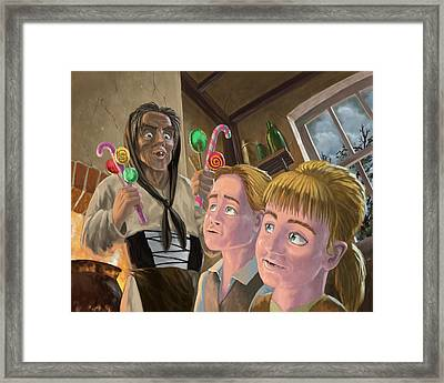 Hanzel And Gretel In Witches Kitchen Framed Print by Martin Davey