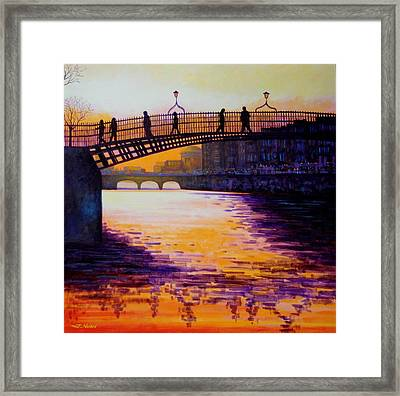 Ha'penny Bridge Dublin Framed Print by John  Nolan