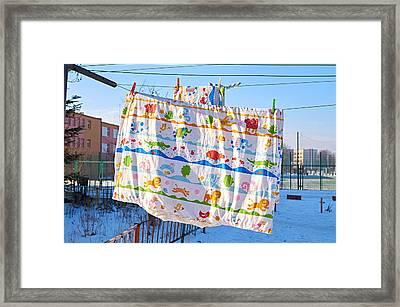 Happiness In Duvet Framed Print