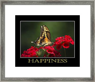 Happiness Inspirational Poster Art Framed Print by Christina Rollo