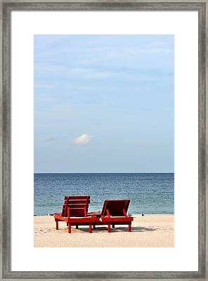 Happiness Is A Beach Framed Print by Rose  Hill