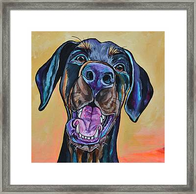 Framed Print featuring the painting Happiness Is A Dog by Patti Schermerhorn