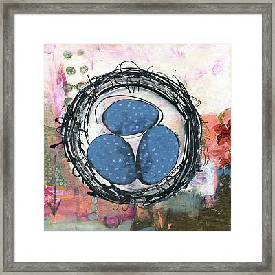 Happiness Is A Warm Nest Framed Print by Blenda Studio