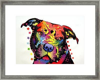 Happiness Pitbull Warrior Framed Print by Dean Russo