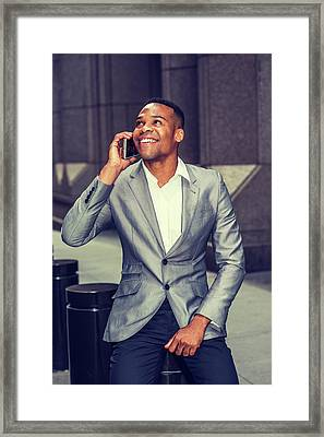 Happy African American Businessman Working In New York 15082323 Framed Print