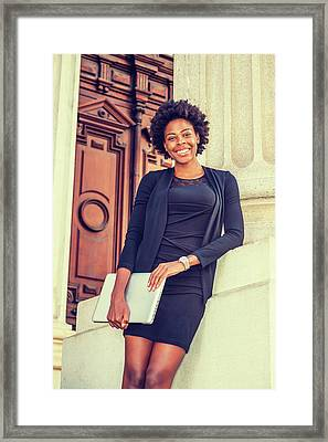 Happy African American College Student Framed Print