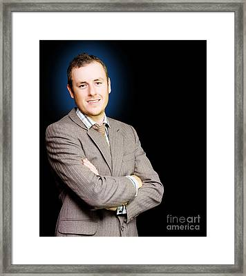 Happy Ambitious Young Business Person With Smile Framed Print by Jorgo Photography - Wall Art Gallery