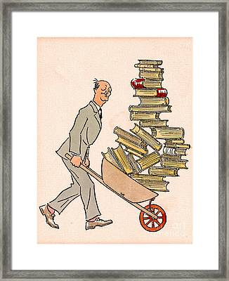 Framed Print featuring the drawing Happy Bibliophile 1930 by Padre Art
