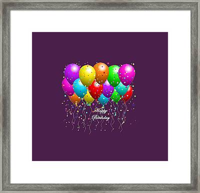 Happy Birthday Balloons Framed Print