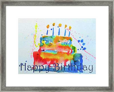 Framed Print featuring the painting Happy Birthday Blue Cake  by Claire Bull