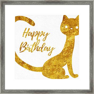 Happy Birthday For Cat Lovers Framed Print by Sabine Jacobs