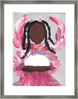 Happy Birthday From The Cake Angel Framed Print by Roz Roy