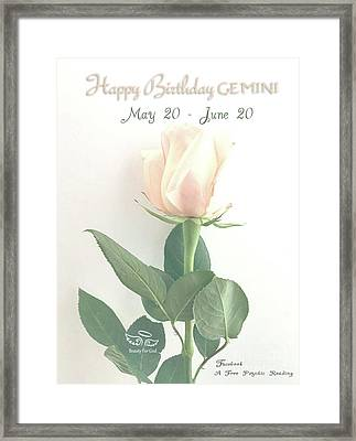 Happy Birthday Gemini Framed Print