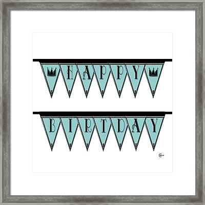 Pennant Deco Blues Sign Happy Birthday Framed Print