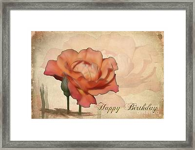 Happy Birthday Peach Rose Card Framed Print