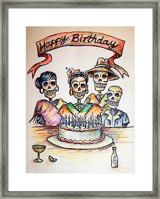Happy Birthday Woman Skull Framed Print by Heather Calderon