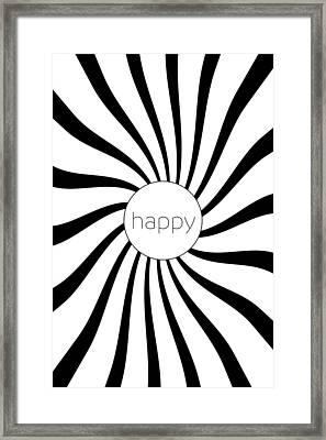 Happy - Black And White Swirl Framed Print