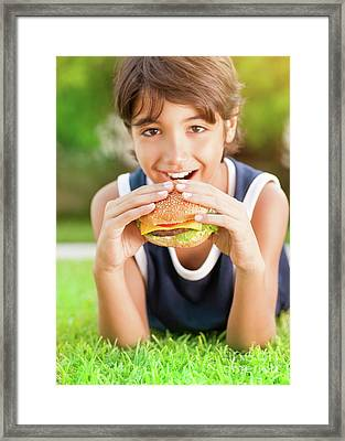 Happy Boy Eating Burger Framed Print