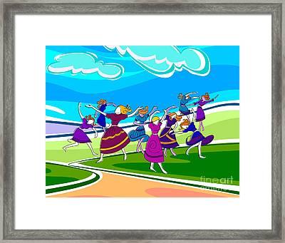 Happy Dancing Girls Framed Print