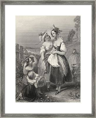 Happy Days Engraved By H. Cook After J Framed Print