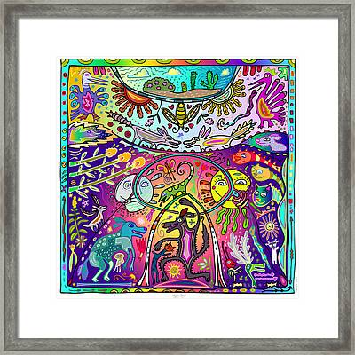 Framed Print featuring the digital art Happy Dogs by Marti McGinnis