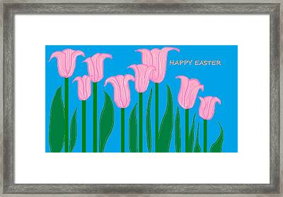 Happy Easter 1 Framed Print by Linda Velasquez