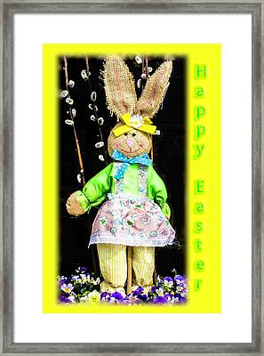 Happy Easter Bunny Girl Decoration Greeting Card Framed Print by Mother Nature