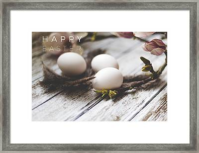 Happy Easter Card With Eggs And Magnolia On The Wooden Background Framed Print