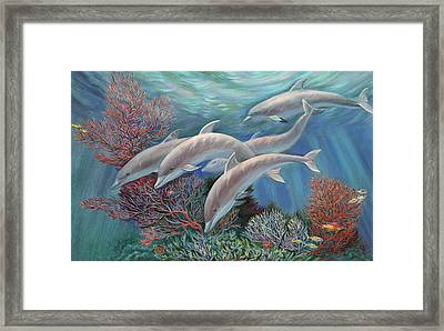 Happy Family - Dolphins Are Awesome Framed Print by Svitozar Nenyuk